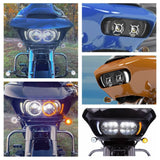Pair LED Front Headlight Bezels for 15-20 Harley Road Glide FLTRX FLTRU Turn Signal Light with White DRL Shark Nose Fairing Lighted Vent Trim - pazoma