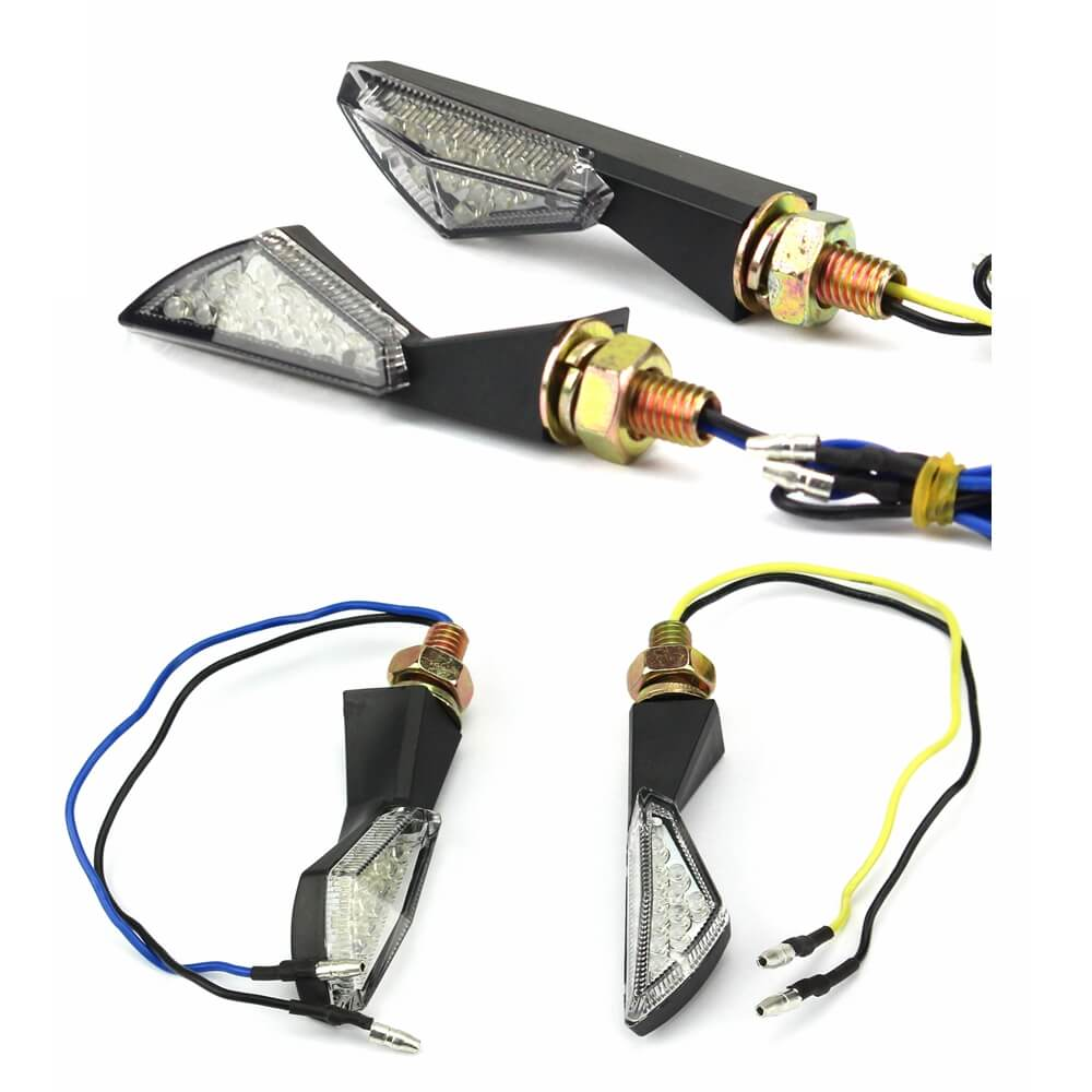2PCS Motorcycle LED Turn Signal Moto Flasher Indicator Light DC 12V Universal Amber For KTM BMW KAWASAKI YAMAHA R1 Blinker Lamp - pazoma