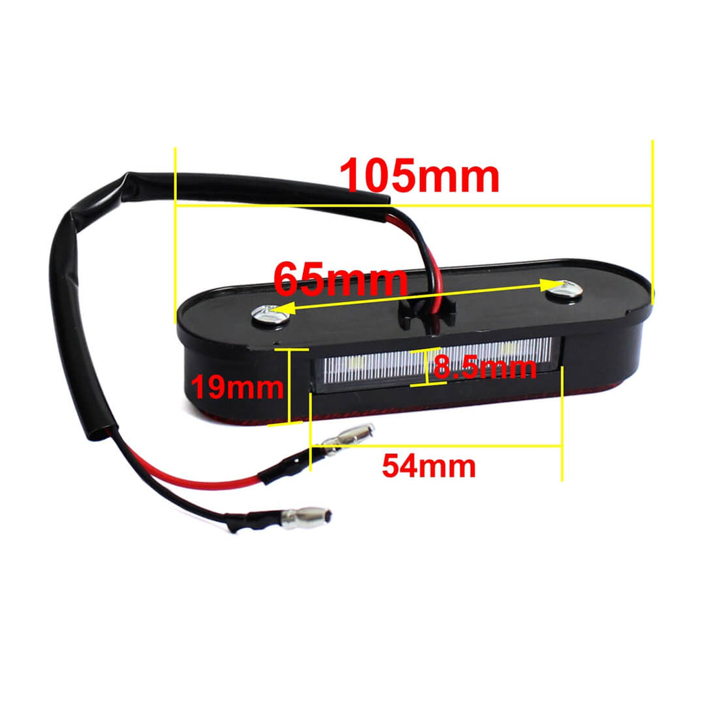 Pazoma Universal Motorcycle 3 LED Tail License Number Plate Light with Red Reflector - pazoma