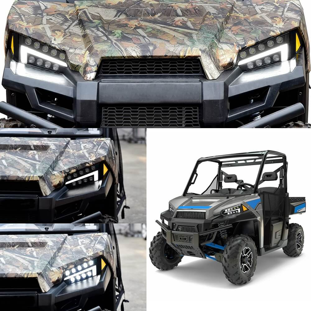 Polaris Ranger 1000 900 570 500 499 XP Diesel Crew 48V EV MD ETX EFI EPS LTN HST BRUTUS Pro XD LED Headlight Assembly Front Head Lamp w DRL 2013-2020 - pazoma