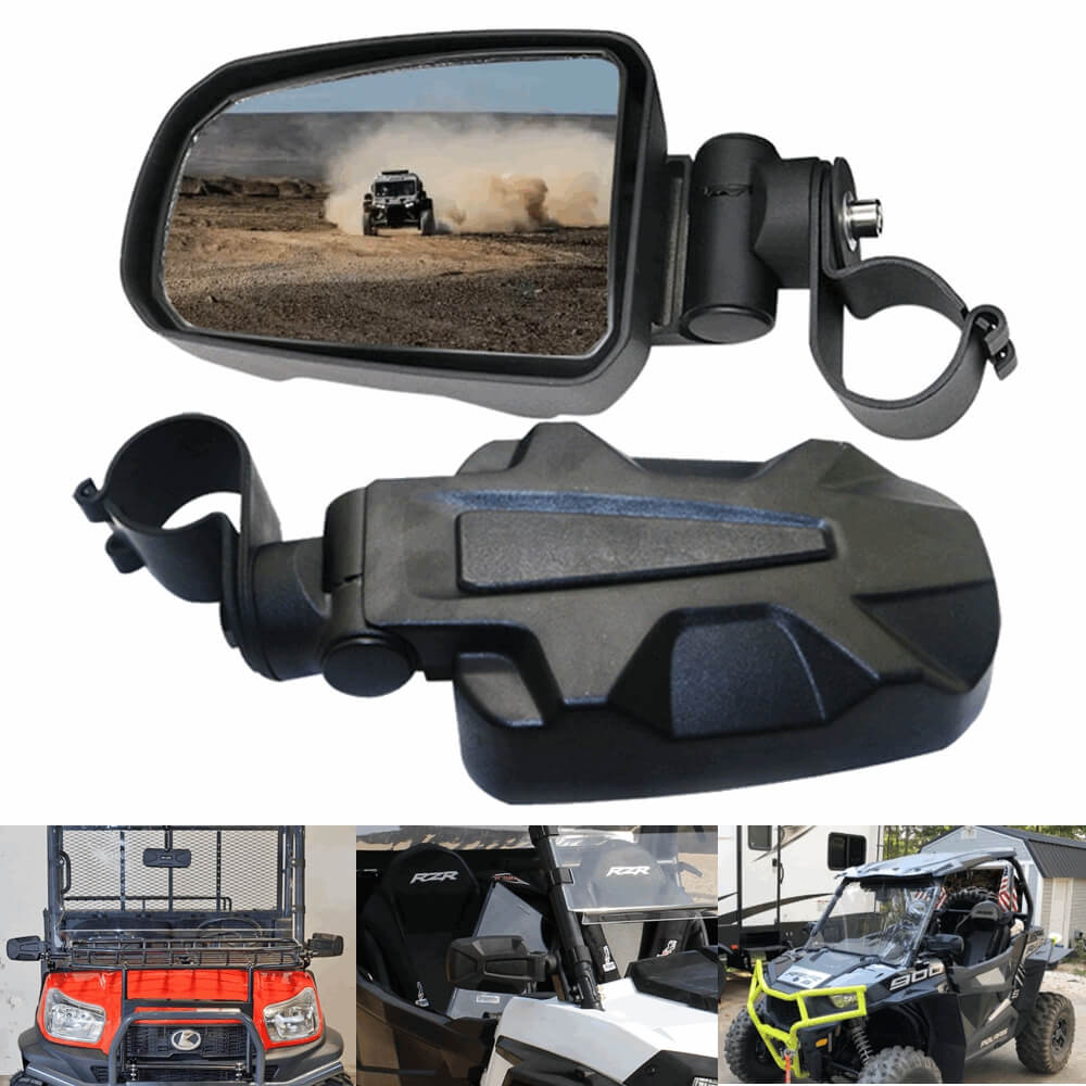 "2"" UTV Cast Aluminium Pursuit Side View Mirror Compatible for Polaris RZR XP1000 Ranger Can-Am Commander Maverick - pazoma"