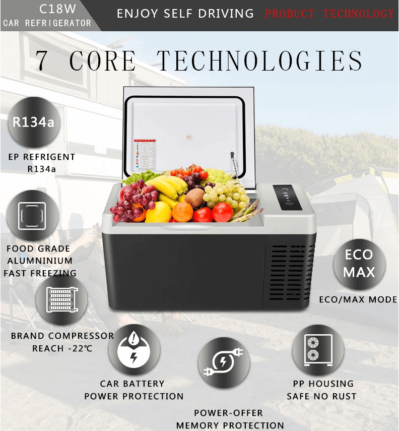 Aizome DC 12V/24V 18L Compressor Fridges Refrigerator Portable Car Freezer Fridge Camping Freezer Refrigerator - pazoma