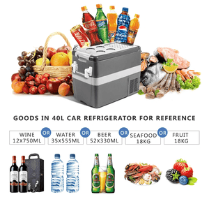 40L DC12/24V AC110-240V Mini Compressor Fridge Freezer Refrigerator Auto Cooler Box Frigerator Car Home Picnic Camping Party Travelling Vehicle - pazoma