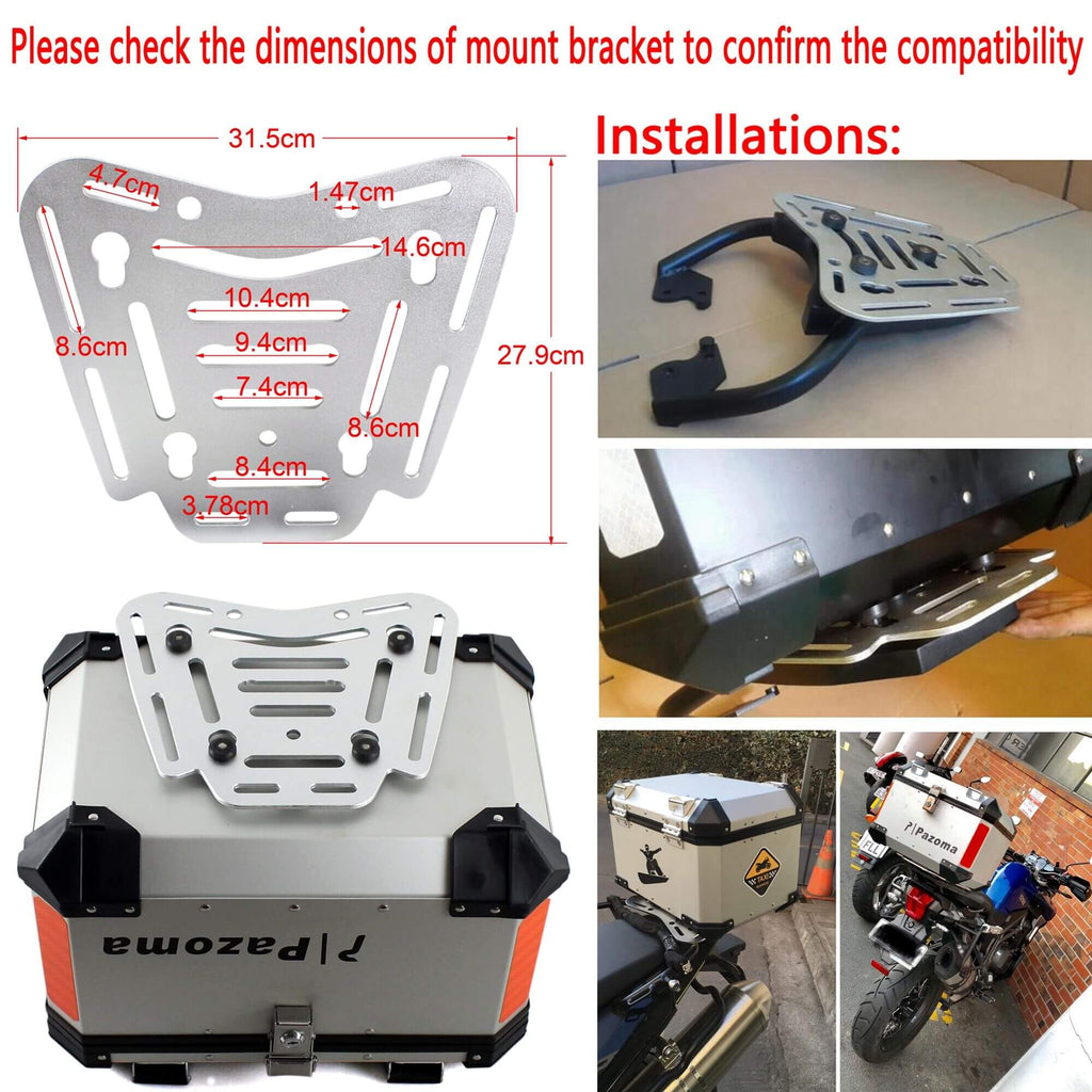 Universal Motorcycle Top Case Aluminum 45L Cargo Storage Tail Box Motorbike Street Bike Rear Luggage Lock Topcase BMW Honda Triumph Yamaha - pazoma