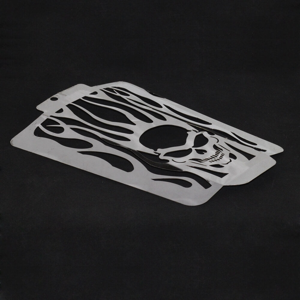 Skull Flame Polished Stainless Radiator Grill Guard For 2006-2019 Suzuki Boulevard M109R / Intruder VZR1800 / M1800R - pazoma