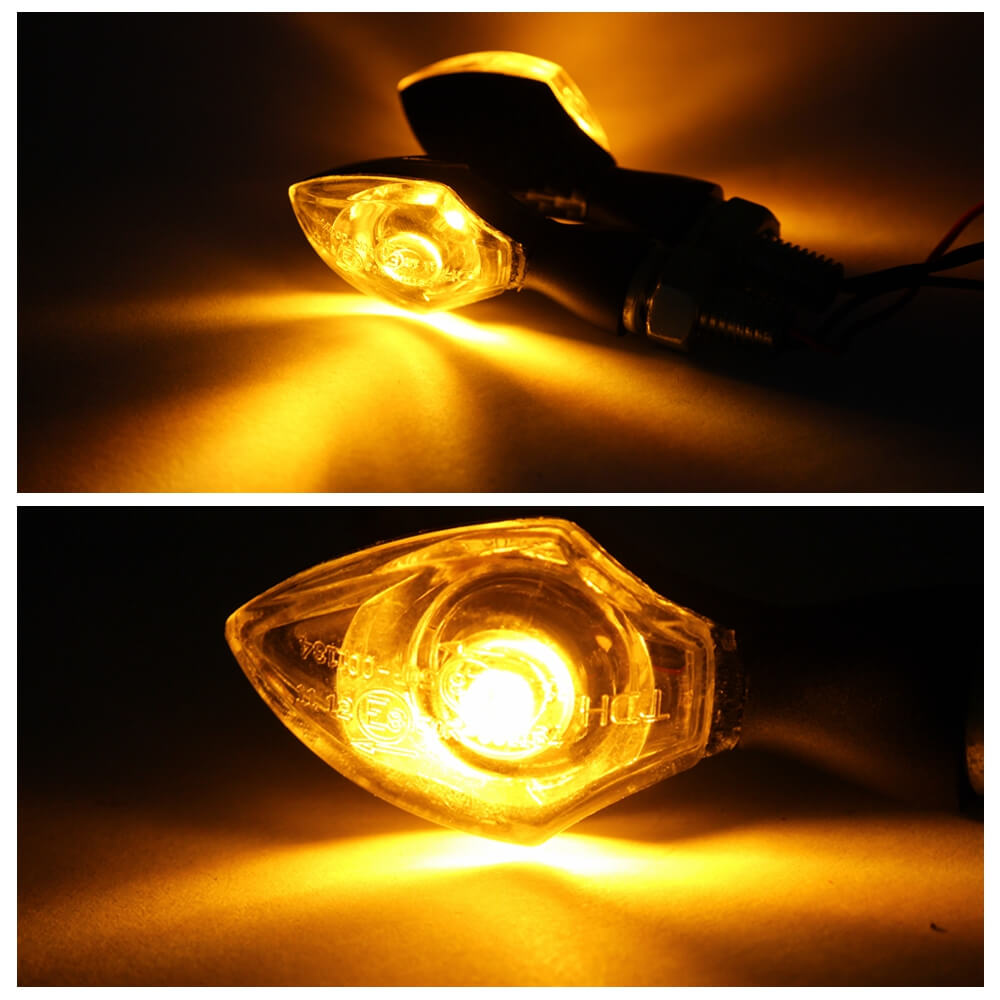 LED Motorcycle Motorbike Indicators Cat-eye Mini Eye Turn Signal Light Nano Blinker 12V for Street bike Cruiser Chopper Retro Custom Harley - pazoma