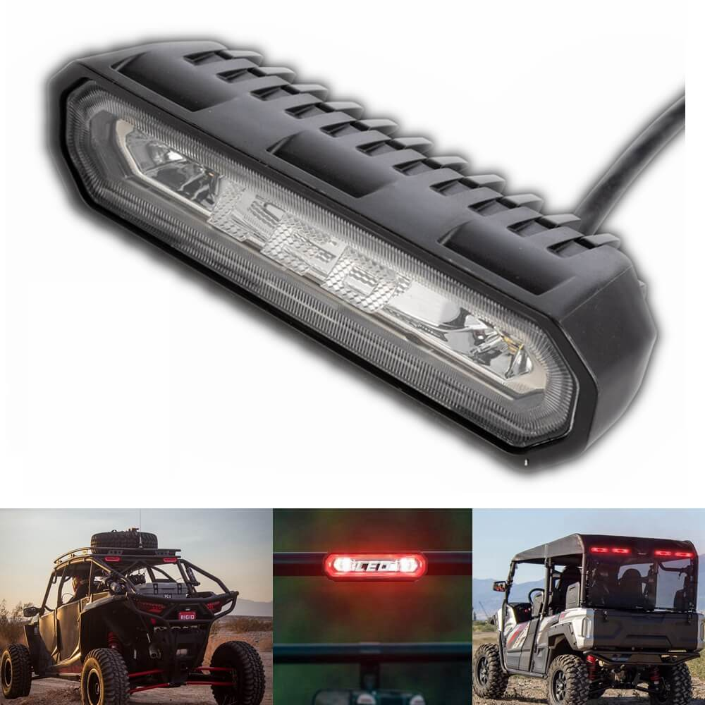 Rear Facing 5-In-1 Red/White LED Chase Light Kit Tail 3rd Brake Strobe Back Backup Reverse License Plate Illumination For Jeep ATV UTV RZR - pazoma