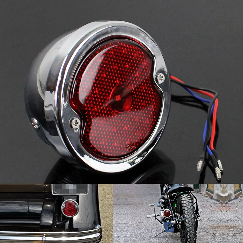 Retro Motorcycle 12v LED Taillight Red Lens W/License Light For Harley Chopper Cafe Racer Bobber Custom Brake Stop Tail Light - pazoma