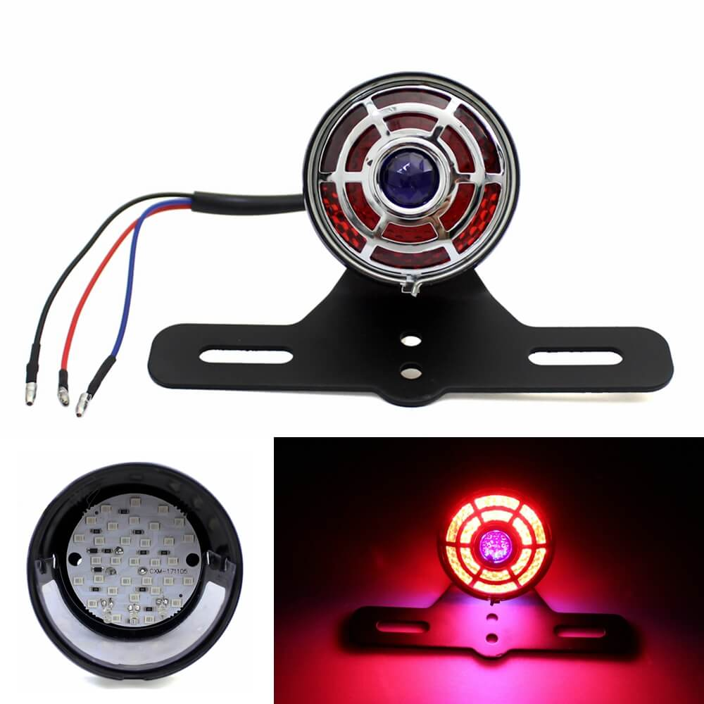 Motorcycle Blue Dot LED Brake Stop Tail Light Lamp W/Chrome Grille For Harley Chopper Bobber Cafe Racer Vintage old school Scrambler Custom - pazoma