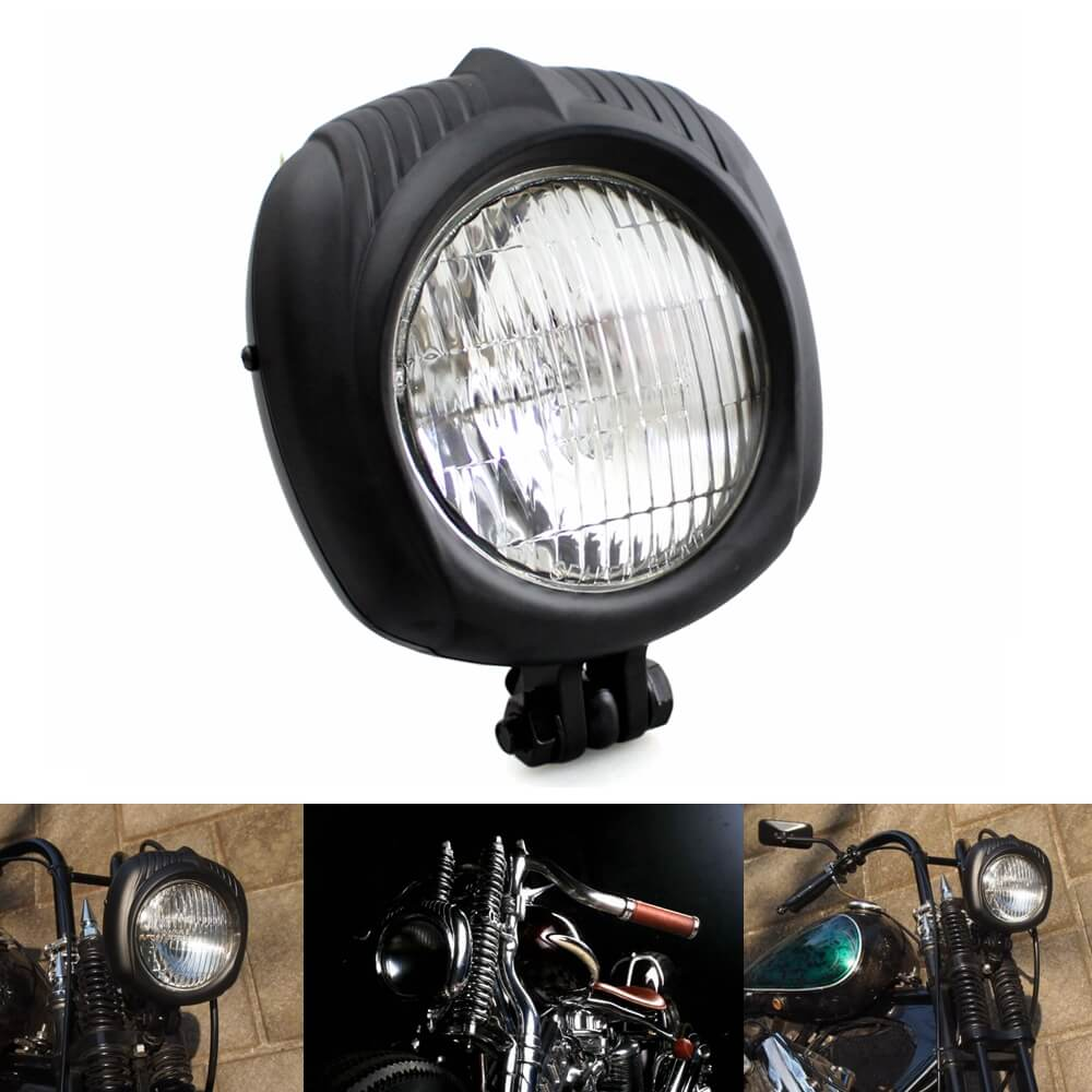 Motorcycle Sealed Beam Electroline Vintage Retro Square Headlight Chopper Bobber Harley Triumph BSA XS650 Custom w/Yellow Lens - pazoma
