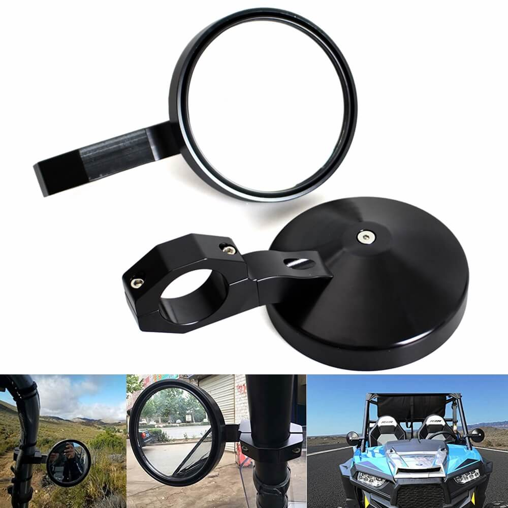 "UTV 4.7"" Round Billet Side Rear View Mirrors Adjustable 2"" Clamp for Can am Commander Polaris RZR XP1000 RZR XP 4 UTV XP4 1000 - pazoma"