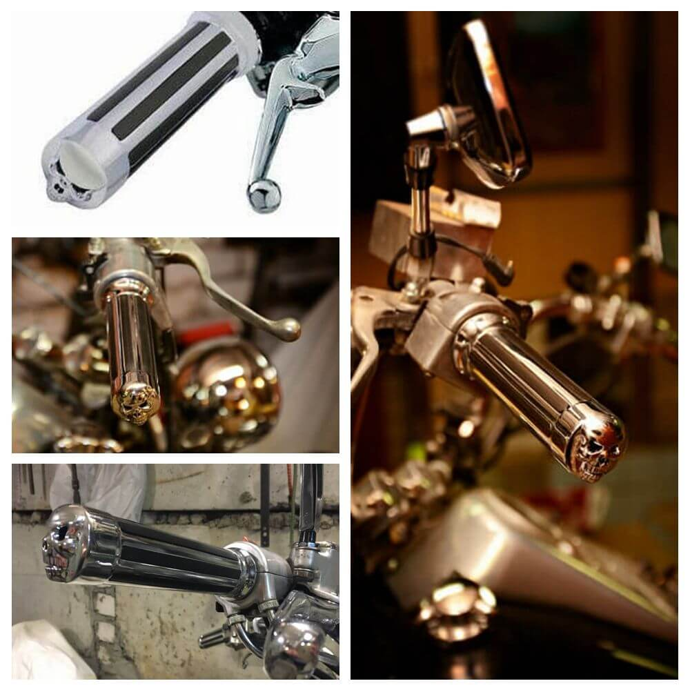 "Motorcycle 1"" Skull  Handlebar End Hand Grips For Harley Cruiser Chopper Bobber Cafe Racer - pazoma"