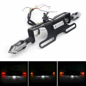 Motorcycle Universal LED Fender Eliminator / Tail Tidy With Turn Signal Rear Stop Brack Licence Number Plate Light Kawasaki Ninja Suzuki Hayabusa - pazoma