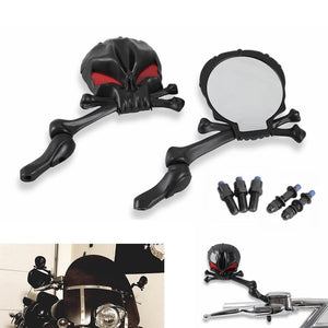 "Motorcycle Skull Head Side Rearview Mirror Set for Harley Honda Suzuki Kawasaki Yamaha Cruiser Bikes 10mm & 5/16"" thread Chrome Black - pazoma"
