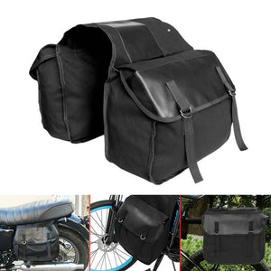 Motorcycle Storage Saddle Bag Large Capacity Canvas Panniers Bags for Bicycle Bike Motor Rear Seat Carrier Bag Two Side Saddlebags - pazoma