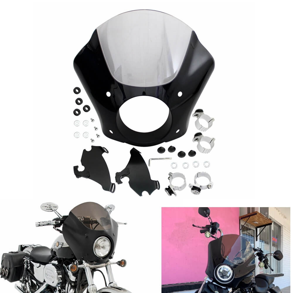 Headlight Gauntlet Front Fairing Windshield Kit For Harley Dyna Softail Street Bob Sportster XL 883 1200 Street XG500 750 1986-2020 - pazoma