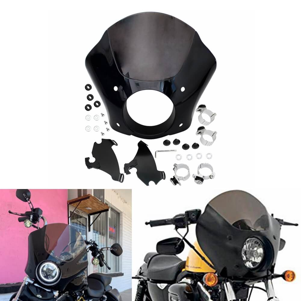 Fork Mounting Hardware For Harley Davidson Sportster 883 1200 Street XG500 XG750 NEW Black /& Smoke Quarter Fairing Windshield Kit