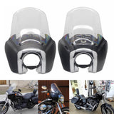 Harley Fairing FXDXT Dyna Super Glide T-Sport Clear 15'' Windshield Windscreen w/ Chrome Trim Bezel Headlight Relocation Block - pazoma