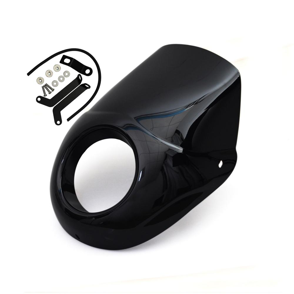 Short Black ABS Headlight Screen Visor T-Sport Fairing Kit For Harley Street 500 750 Street Rod XG750A XG750 XG500 Headlamp Cover - pazoma