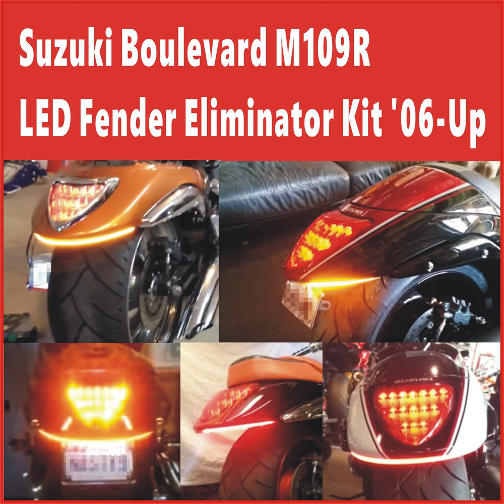 Suzuki Boulevard M109R BOSS M109R2 VZR1800 INTRUDER Double Row LED Run-Brake-Turn Fender Light Kit Sequential Switchback Flowing Turn Signals '06-Up - pazoma