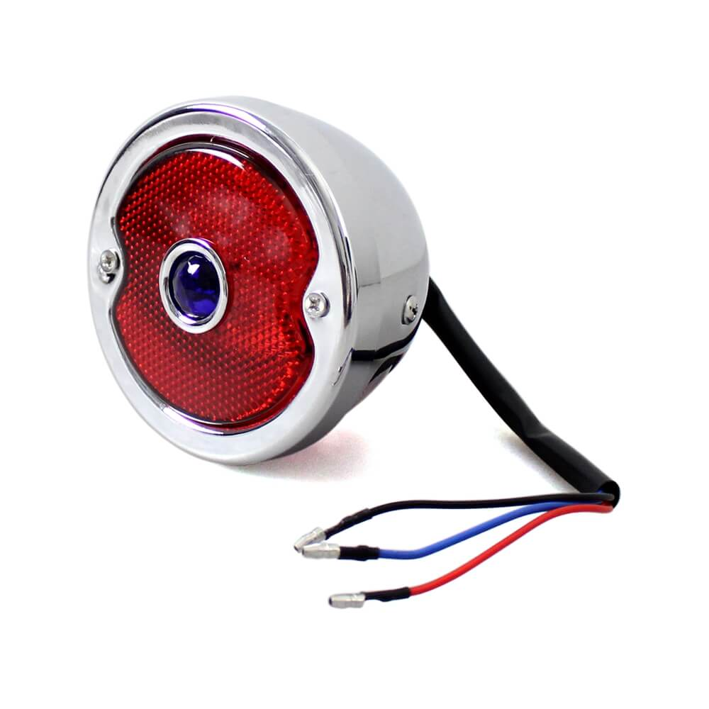 LED Brake Stop Tail Light Lamp w/Blue Red Dot For Harley Chopper Bobber Cafe Racer Vintage old school 1933-1936 Ford Car Model - pazoma