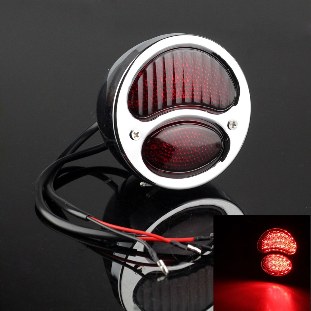 Harley Chopper Bobber Cafe Racer Vintage Retro Motorcycle Modification LED Brake Taillight Tail Warning Signal Light - pazoma