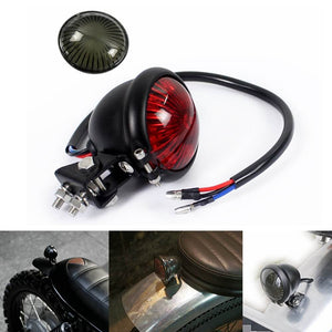 Red 12V LED Adjustable Bates Style Motorcycle LED Tail Light Black Cafe Racer Bobber Tracker Harley Chopper Bobber Chrome - pazoma