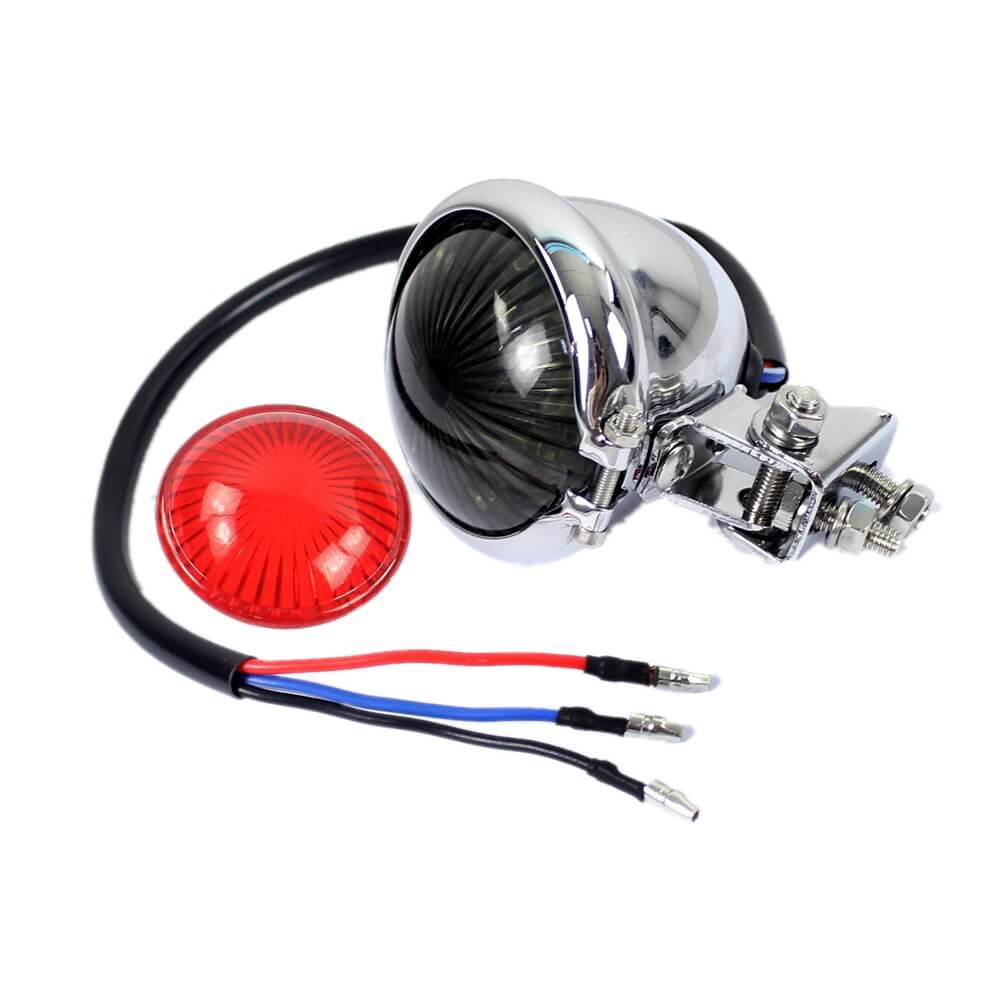 Motorcycle Bike Bates Style LED Taillight Tail Brake Light Stop Lamp For Harley Chopper Bobber Cafe Racer - pazoma
