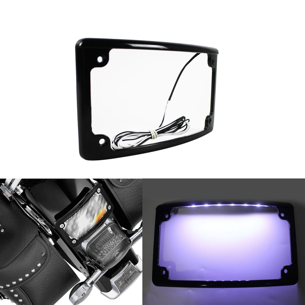 Black Radius 4 X 7 Curved Led Motorcycle License Plate Frame Harley Rear Fender / LPF-RAD-B-LP - pazoma