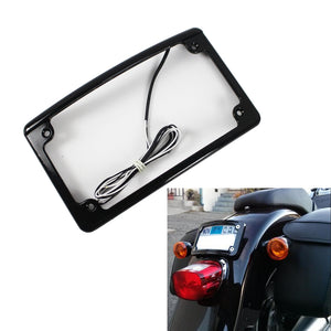 Radius Motorcycle Plate Frames with LED Illumination LPF-RAD-B-LP License Plate Frame Mount w/LED Lights - pazoma
