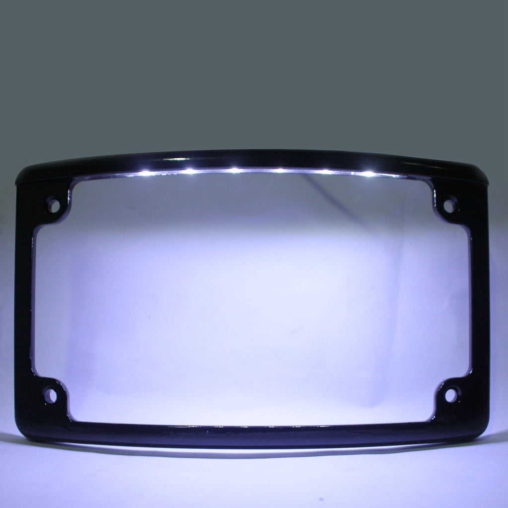 Radius Motorcycle Number LED License Plate Frame Chrome LED Illumination For Harley - pazoma