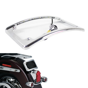 Pazoma Chrome 4 x 7 Curved LED Radius Motorcycle Number License Plate Frame for Harley Rear Fender - pazoma