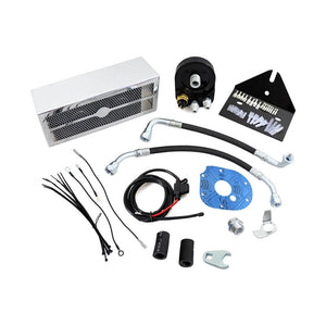 New 2.0 Chrome Black The Reefer Oil Cooler Fan Cooling System For Harley Dyna 1993-2017 Dual Fan Assisted Below Regulator Mount - pazoma