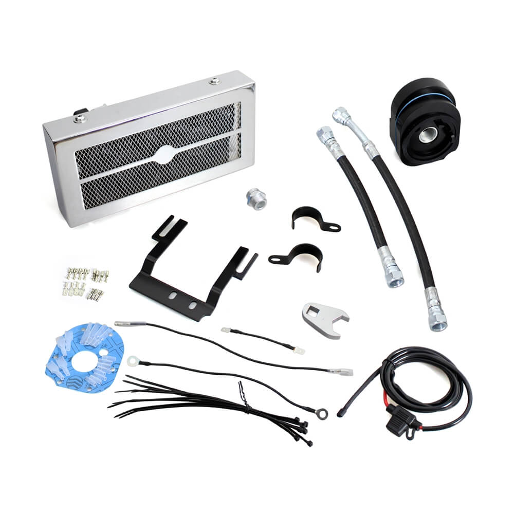 New 2.0 Black Chrome The Reefer Oil Cooler Fan Cooling System for Harley Softail 2001-2017 Dual Fan Assisted Below Regulator Mount - pazoma