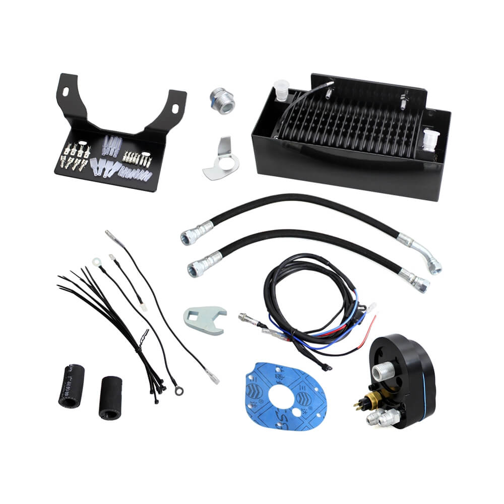 New 2.0 Black Chrome The Reefer Oil Cooler Fan Cooling System For Harley Touring FLH 1999-2008 Dual Fan Assisted Below Regulator Mount - pazoma