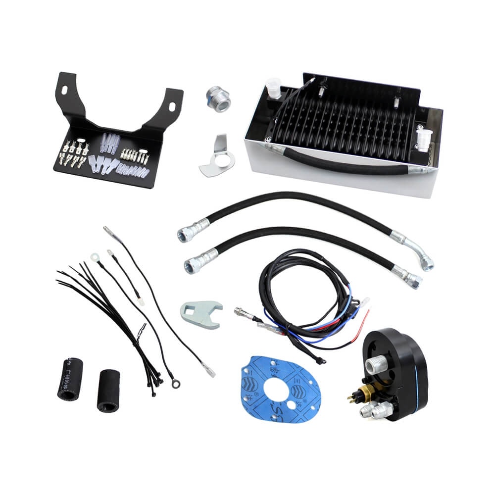 Motorcycle Fan Oil Cooling System For Harley Touring FLH Road Glide Road King Street Electra Glide 1999-2008 Reefer Oil Cooler Kit - pazoma