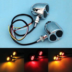 Harley Chopper Bobber Cafe Racer Chrome 3 in 1 LED Turn Signals w/ Brake Tail Light Blinkers Turn Indicator Lights - pazoma