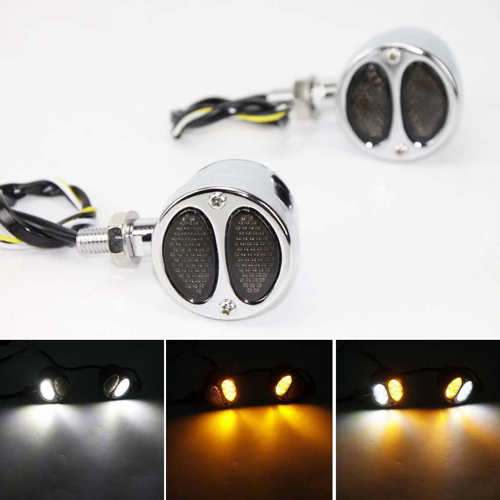 Motorcycle Front 2 in 1 LED Turn Signals w/Daytime Running Light DRL Blinker Indicator Lights Harley Chopper Bobber Cafe Racer Amber & White - pazoma