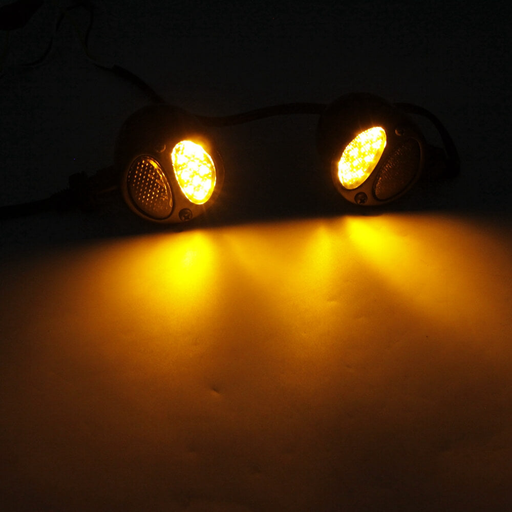 Universal Motorcycle LED Turn Signal Lights Double Color Front Rear Indicator Indicator Lights Amber Yellow Flowing and Blue Daytime Running Lights Waterproof 12V 17LEDs.2-Pack.