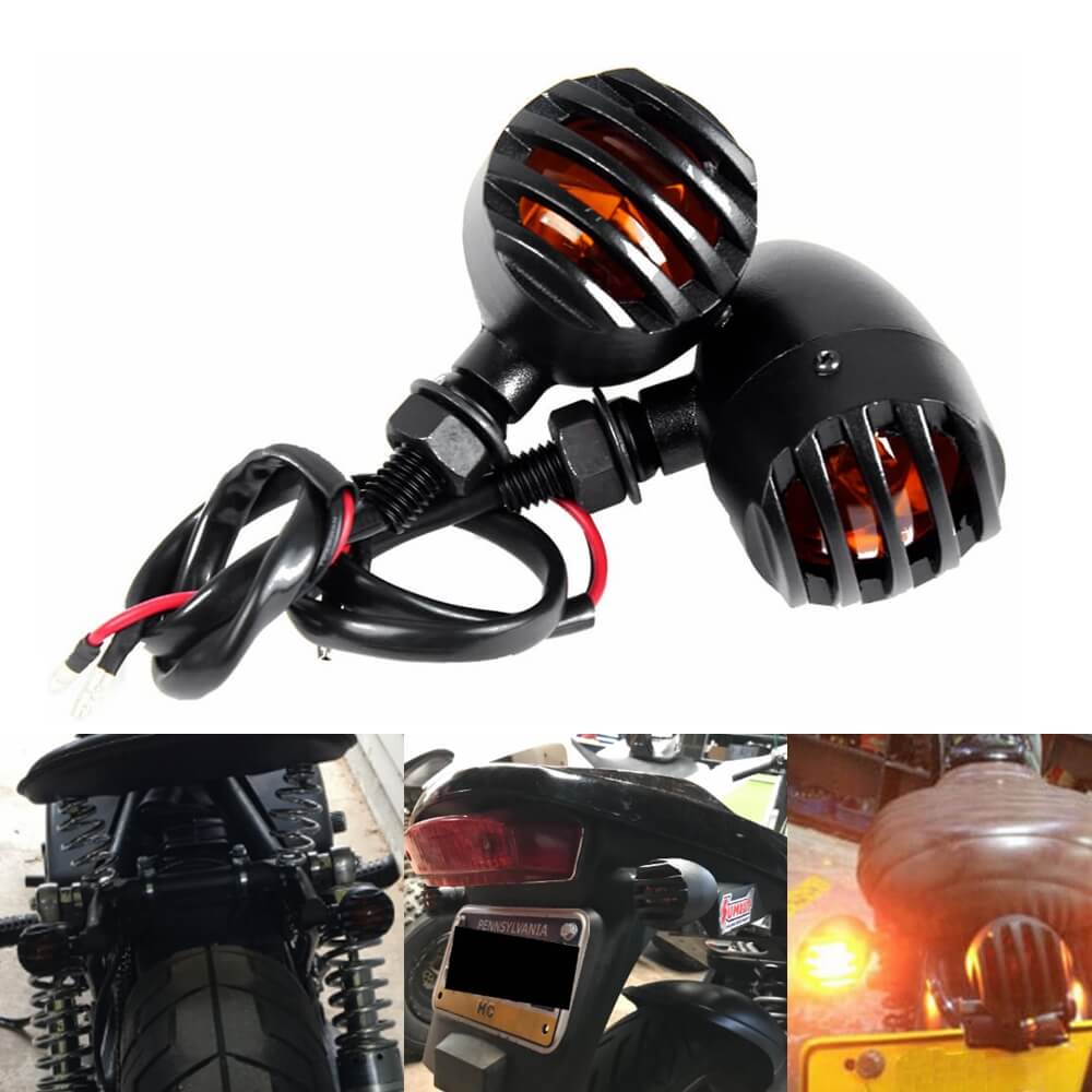 Motorcycle Metal Grill Bullet Matte Black Amber Turn Signal Light Indicator blinkers flashing For Harley Honda Yamaha Kawasaki Suzuki BMW Cafe Racer - pazoma