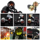 Motorcycle Vintage Grill Turn Signals Indicator Light blinker flashing Amber Universal Cafe Racer Chopper Bobber Cruiser Custom XL
