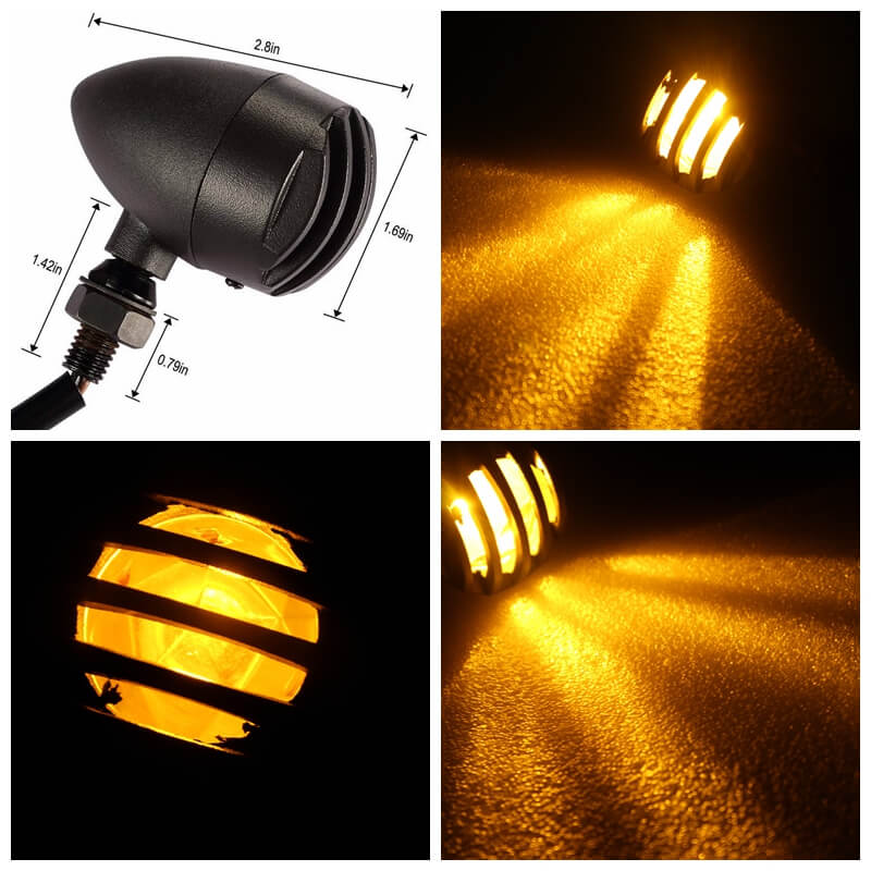 Motorcycle Vintage Grill Turn Signals Indicator Light blinker flashing Amber Universal Cafe Racer Chopper Bobber Cruiser Custom XL - pazoma