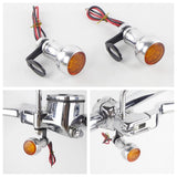 Harley Sportster Dyna Softail Touring CNC Aluminum Mini Front LED Turn Signal Light Blinker Indicator Lamp Amber With Relocation Bracket - pazoma