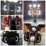 Tracer LED Running Light/Turn Signal Fairing Lower Grills for Harley Touring Trike Road Street Electra Glide Ultra Classic Limited CVO Tri - pazoma