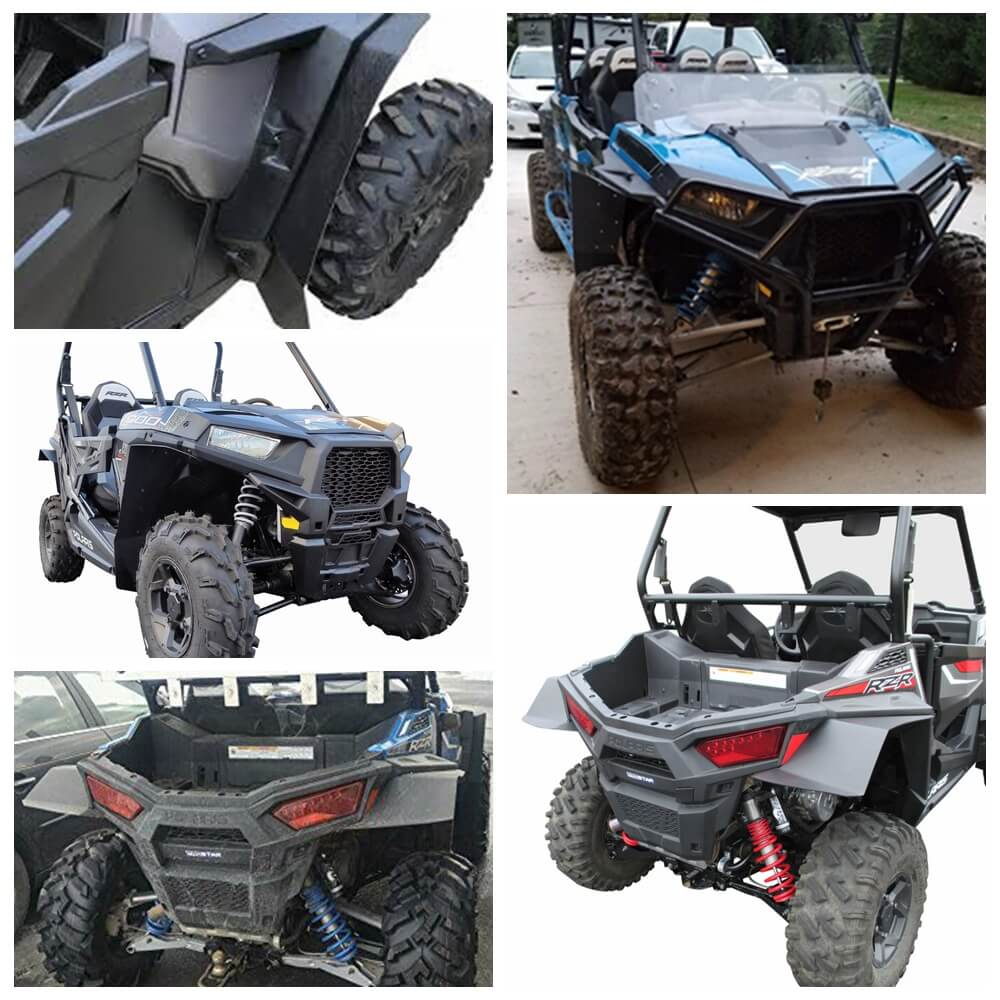 Extended Fender Flares Mud Flaps for Polaris RZR 4 900 Polaris RZR-S 900 RZR-S 1000 2015-2020 Full Set Front/Rear - pazoma