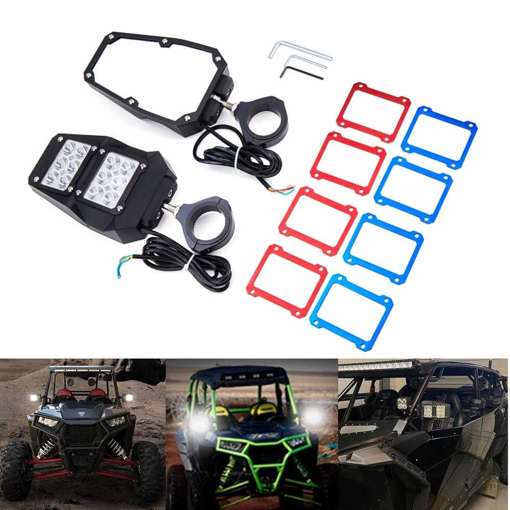 UTV Offroad Rear View Side Mirrors With LED Spot Lights For 1.75 & 2 Inch Roll Bar Cage Can-am Maverick Polaris RZR XP 1000 Yamaha Rhino - pazoma