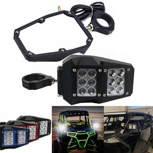 "UTV Universal Rear View Mirror 1.75"" and 2"" For Polaris RZR1000 Yamaha With LED Spot Light Rock Lights DRL - pazoma"