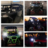 "1.75""-2"" UTV SXS Roll Cage Rear View Mirrors w/ LED Spotlight For Polaris RZR PRO XP Yamaha Rhino Can-Am Commander 1000 Honda Kawasaki - pazoma"