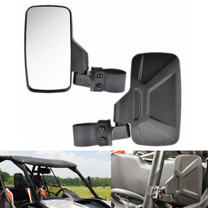 "Polaris RZR Ranger Yamaha Rhino Can-Am Arctic Honda Pioneer UTV Left and Right Side View Mirror with 1.75"" and 2"" Mounts and Shock-Proof Rubber Pad - pazoma"