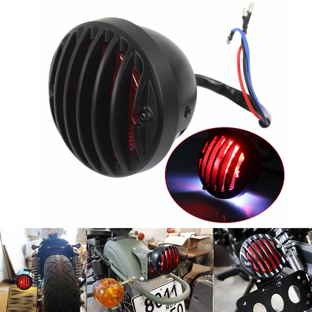 "Black ""RODDER"" Finned LED Taillight Tail Brake Lamp RED Grill Round Universal For Harley Bobber Chopper Rat Custom Cafe Racer Hot Rod Duo Style - pazoma"